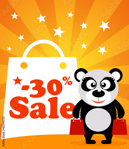 Sale poster with panda vector