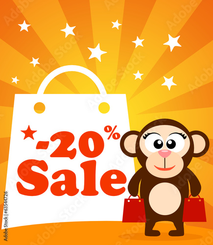 Sale poster with monkey vector