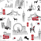 Fototapety seamless pattern with English miniatures