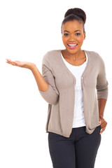 african american woman presenting