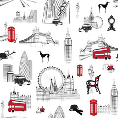 seamless pattern with English miniatures