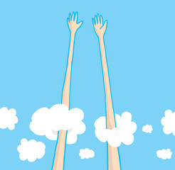 Sky high five above the clouds