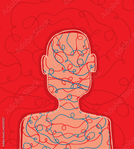 Conceptual scribbled person head
