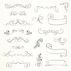 Vector Illustration of Ornate Frames and Scroll Elements