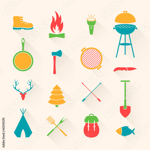 Vector Illustration of Camping Equipment Icons