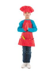 Studio portrait boy as little cook