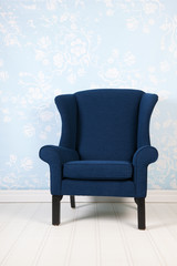 Interior blue room with armchair