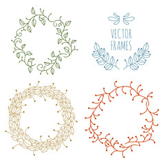 Vintage hand drawn vector frames with leaves