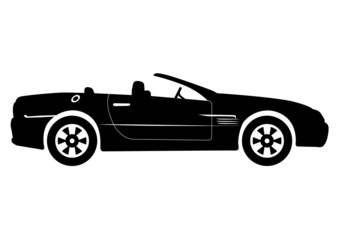 Black Convertible Car Vector Illustration