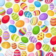Seamless background with colorful Easter eggs. Vector.