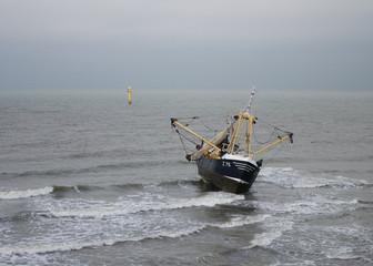 Stranded fishing boat