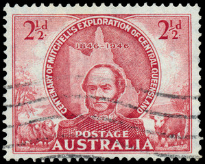 Stamp printed in Australia shows Central Queensland Exploration