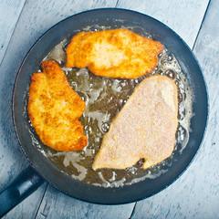 Frying Schnitzel