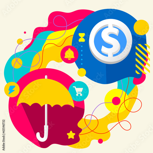 Umbrella and dollar sign on abstract colorful splashes backgroun