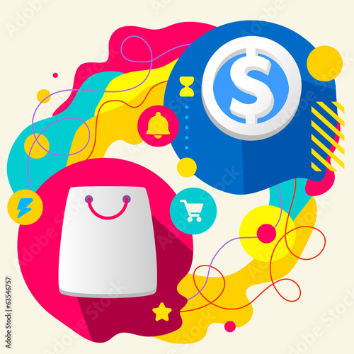 Shopping bag and dollar sign on abstract colorful splashes backg