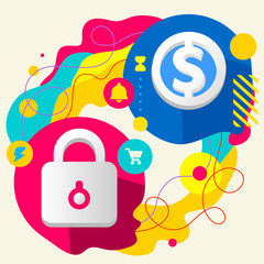 Lock and dollar sign on abstract colorful splashes background wi