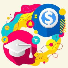Academic hat and dollar sign on abstract colorful splashes backg