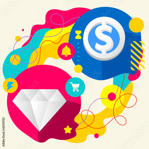 Diamond and dollar sign on abstract colorful splashes background