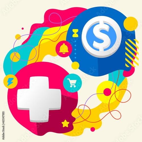 Plus and dollar sign on abstract colorful splashes background wi