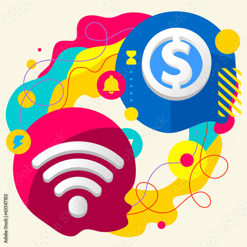 Wi fi and dollar sign on abstract colorful splashes background w