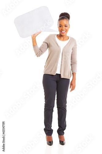 african american woman holding blank speech bubble