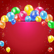 Balloons and streamer on red background