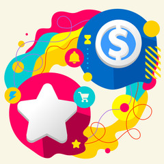 Star and dollar sign on abstract colorful splashes background wi