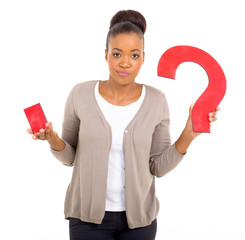 clueless african woman with question mark
