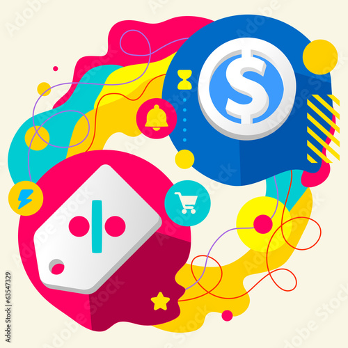 Label and dollar sign on abstract colorful splashes background w