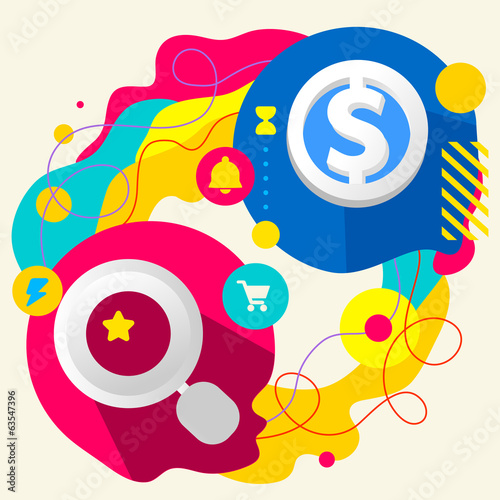Magnifier and dollar sign on abstract colorful splashes backgrou