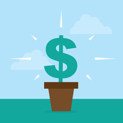 Flower pot with dollar sign growing