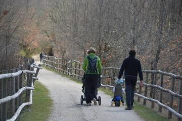 Familia con hijos pequeños paseando por el campo
