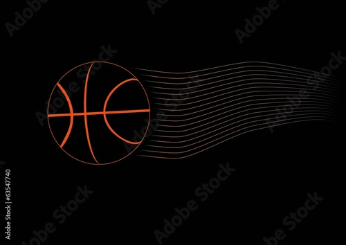 Basket ball on black background