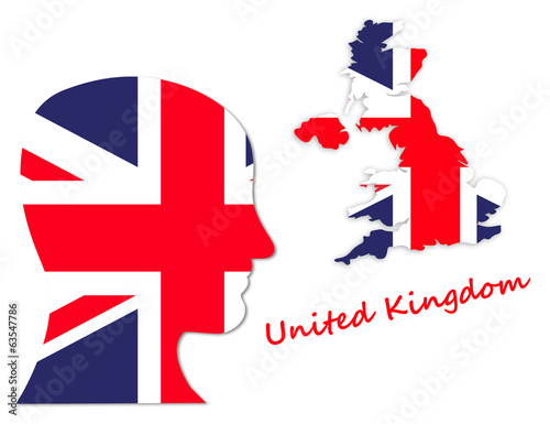 Symbol of UK: population and map