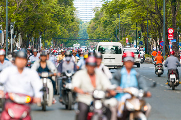 Busy street in Ho Chi Minh City. Vietnam.