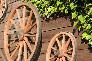 Old carriage wheels hanging on board wood wall