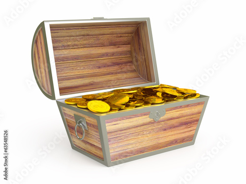Ancient wooden treasure chest