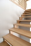 Simple wooden interior staircase