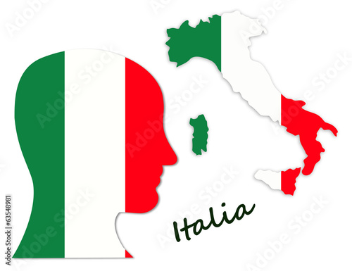 Italian symbols: population and map