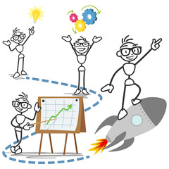 Stickman, conceptual, steps business idea success