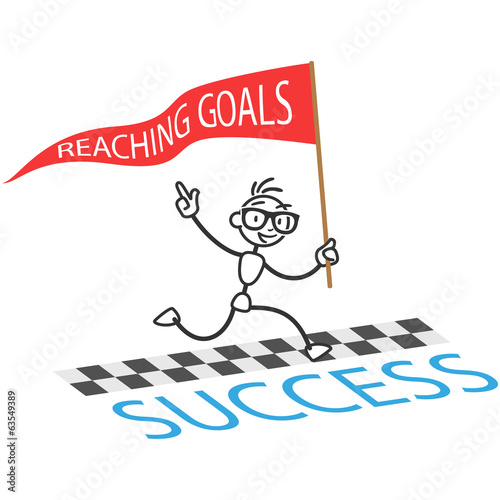 Stickman running reaching goals finishing line
