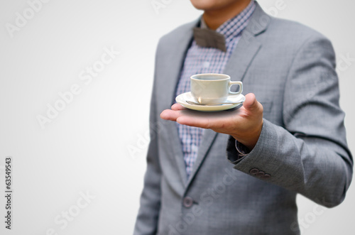 Coffee break concept, Businessman drink hot coffee