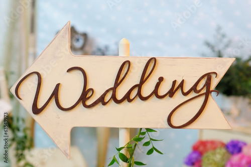 "Nameboard of ""wedding"""