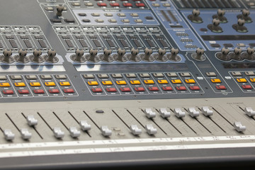 Digital Sound Mixing Console Closeup