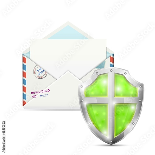 Open Envelope Protected By Shield.