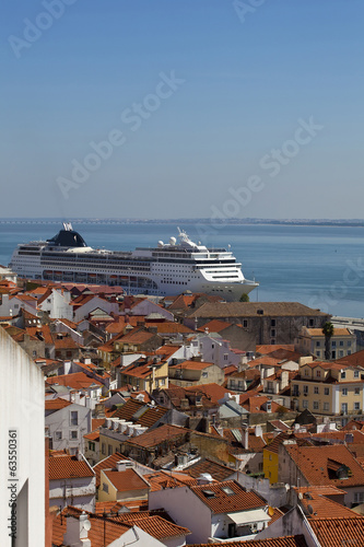 Panorama of old traditional city of Lisbon