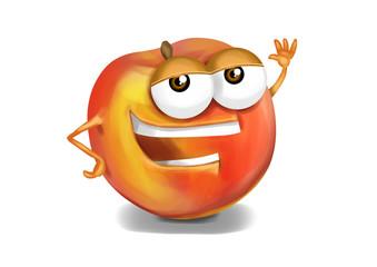 Happy nectarine cartoon character, smiling and waving hand