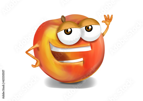 Happy nectarine cartoon character, smiling and waving hand