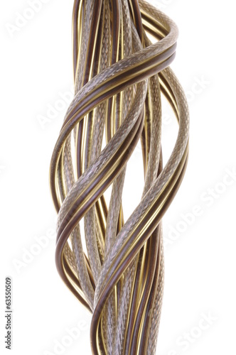 Telecommunication cables isolated on white background