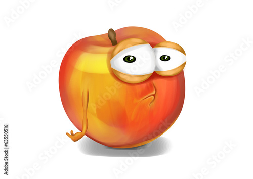 Sad orange nectarine cartoon, a depressed character.